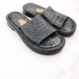 BORN Black Leather Slides Size 6